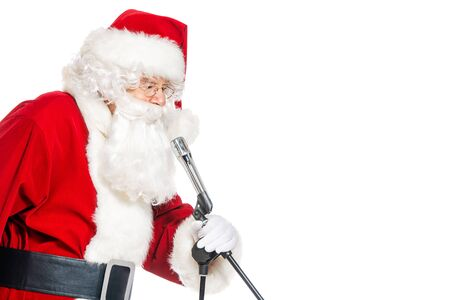 A portrait of Santa Claus with a microphone.