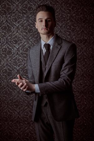 Portrait of a handsome man in elegant classic suit and a tie on a vintage background. Business style. Men's fashion. Stock Photo