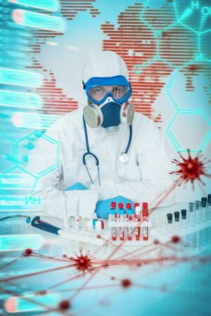 COVID-19. Doctor, microbiologist, scientist in a protective suit, makes a research of coronavirus in the laboratory. Modern technologies in medicine.