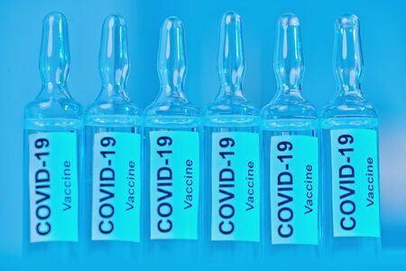 COVID-19 coronavirus vaccine. Victory over coronavirus, photo of ampoules with a vaccine against 2019-nCoV.
