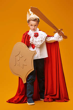 Full length portrait of a cute boy in costume of knight with cardboard armor is posing on yellow background. Childhood dreams. Carnival. Masquerade. Theater. Banque d'images
