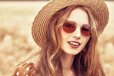 Portrait of a modern hippie girl outdoor. Bohemian style. Stockfoto