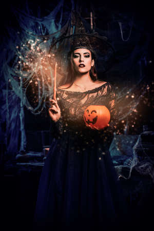 A witch in a castle. Halloween. Celebration. Imagens