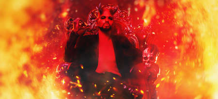 A portrait of a bad demon in his throne surrounded by flames. Imagens