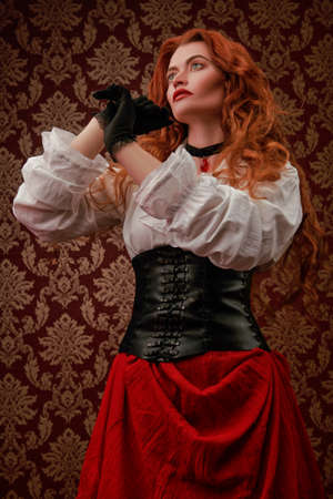 The heroine of a historical adventure novel. Portrait of a beautiful emotional young woman with long red hair posing in a historical costume of 16-17th centuries on a vintage background.