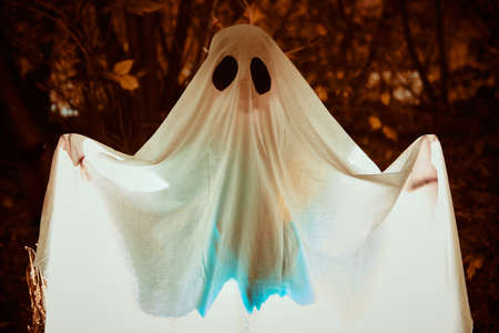 A ghost child under a white sheet with light inside in a dark forest. Halloween concept.