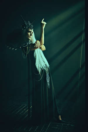 A portrait of a stately and beautiful old woman with long gray hair, in a rich headdress and a rich black dress in the rays of light in a dark castle. Black Queen, Witch. Halloween. Banco de Imagens