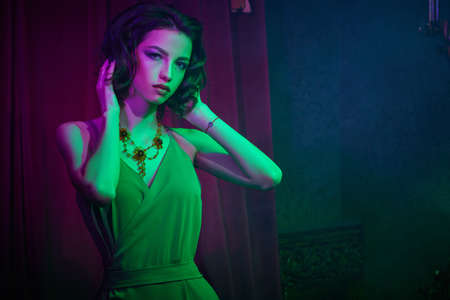 Brunette girl with evening make-up and hairstyle posing in elegant dress in a dark luxury vintage apartment. Fashion shot. 写真素材