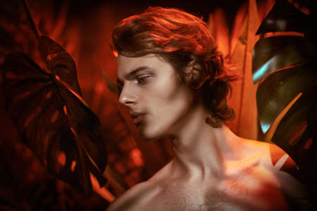 Handsome young man fashion model with naked torso poses among tropical plants. Men's beauty. Perfumery and beauty products. Jungle photoshoot.