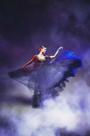 Art, ballet and fashion. Graceful female ballet dancer dancing in a fashionable evening dress. Ballet show. Full length studio portrait. 写真素材