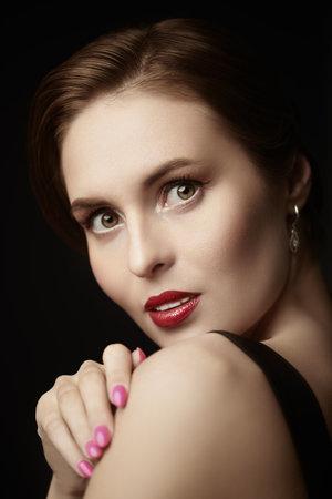 Beauty and makeup. Portrait of a beautiful elegant girl 写真素材