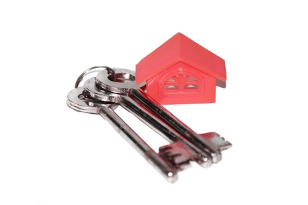 Three keys and Home isolated on white background. photo