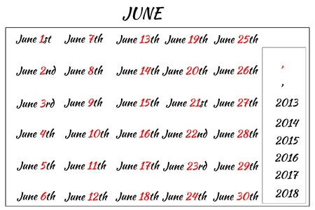 Multi-year format of June Month Dates  Covering from 2013 to 2018 photo