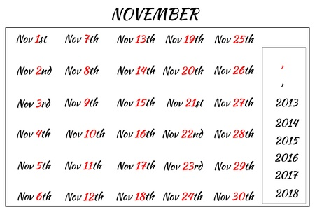 Multi-year format of November Month Dates  Covering from 2013 to 2018 photo