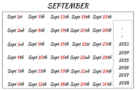 Multi-year format of September Month Dates  Covering from 2013 to 2018 photo
