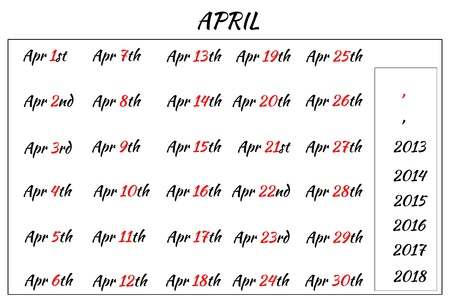 Multi-year format of April Month Dates  Covering from 2013 to 2018 photo