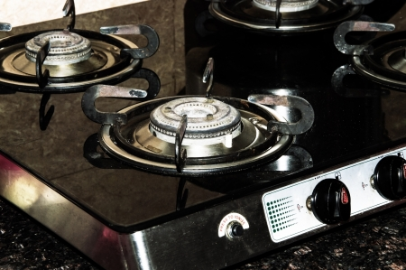 Used Gas Burners in Kitchen   Modern kitchen has them to cook food Stock Photo - 20655673