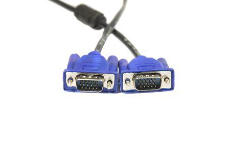 vga: Aislados cables vga azules sobre fondo blanco