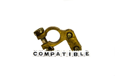 compatible: Compatible parts of a machine system on white background