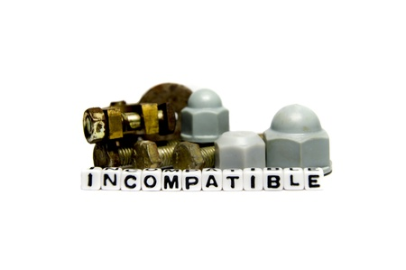 incompatible: Incompatible parts and pieces establishing the concept with gears