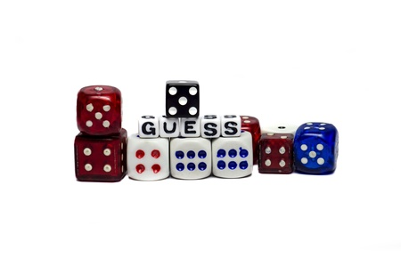 Guess game with dices of diferent colors   photo