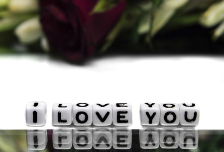 I love you message with text and rose in background   photo