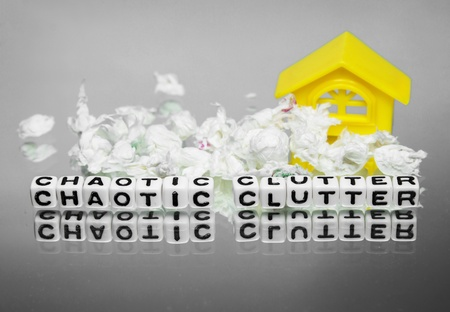 unplanned: Chaotic clutter surrounding home and text message around mess