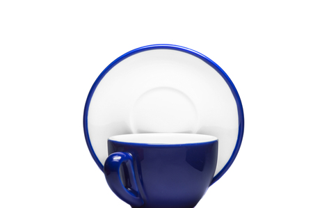 Blue cup and plate on white background  photo