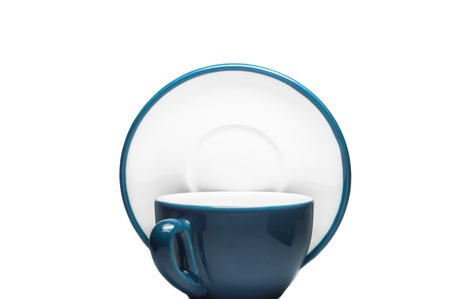Gray blue cup and plate on white background  photo