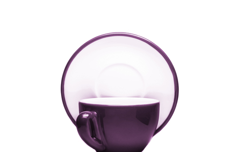 Purple cup and plate on white background  photo