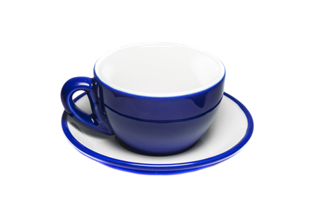 Empty blue cup and plate on white background  photo