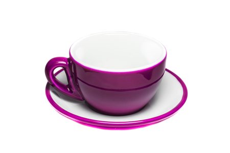Empty pink cup and plate on white background  photo