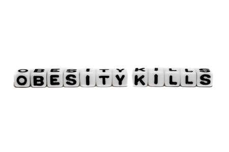 kills: Obesity kills text message on white background. Stock Photo