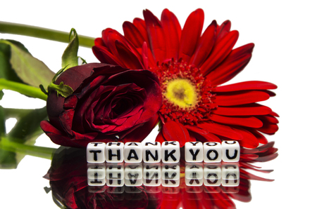 thankfulness: Thank you message with flowers.