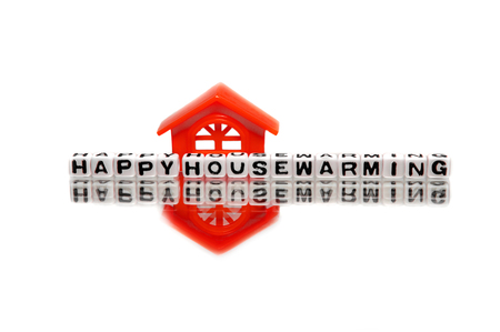 housewarming: Housewarming message with red home.
