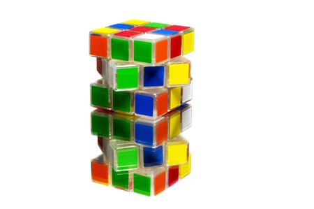 unsolved: Unsolved and stacked twisted rubik