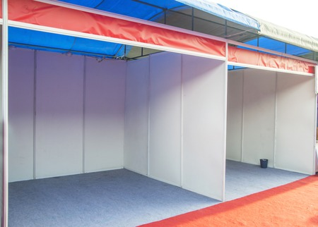 Empty trade show booth counter. Empty space for new advertizer.  Stock Photo