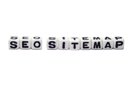 SEO sitemap text message on white background. photo