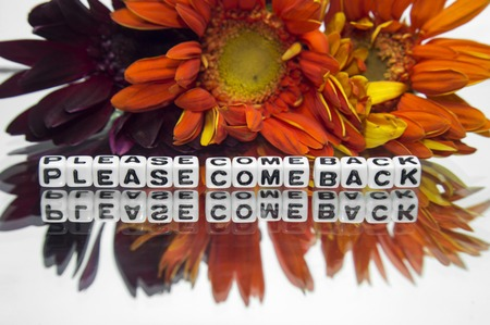 hankering: Please come back message with vibrant colors and flowers   Stock Photo