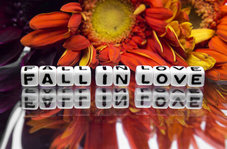 hankering: Fall in love message with flowers and text