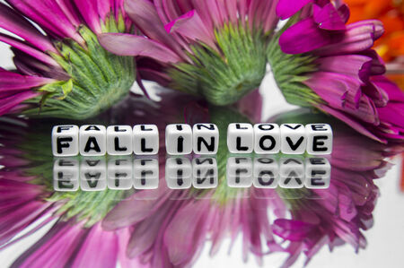 hankering: Fall in love message with pink flowers   Stock Photo