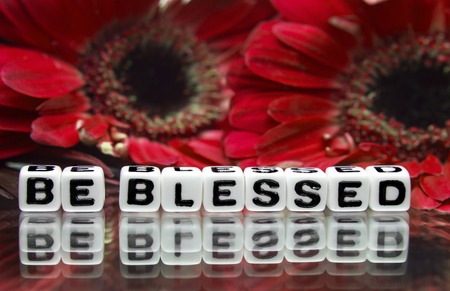Red flowers and be blessed message with red flowers   photo