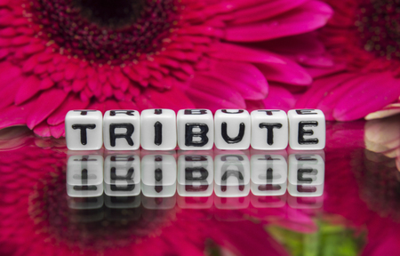 Tribute text with red flowers in the background.