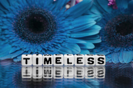 timeless: Timeless text message with blue flowers in the background.