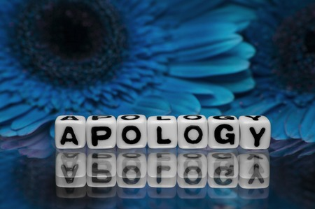 Apology text message with blue  flowers in the background  photo