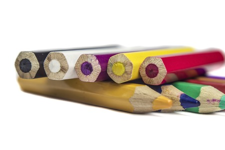 Wooden pencil colors on white background  photo