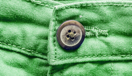 trouser: Green trouser pant close-up with button in the middle.