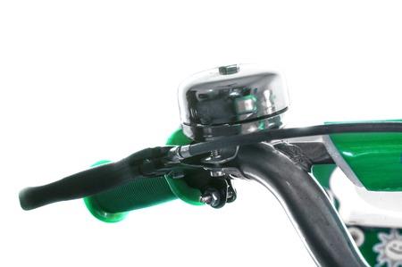 handlebar: Bell and handlebar of bicycle or bike on white. Stock Photo
