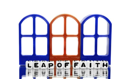 Three doors and leap of faith text message. photo