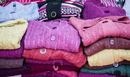 winterwear: Winterwear sweaters on sale at a shop.